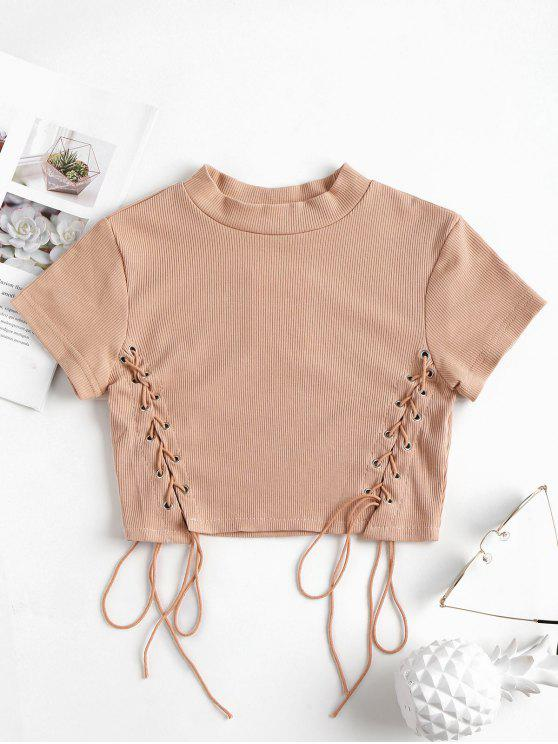 ba08701dc3 2019 Knit Lace Up Ribbed Top In LIGHT PINK S
