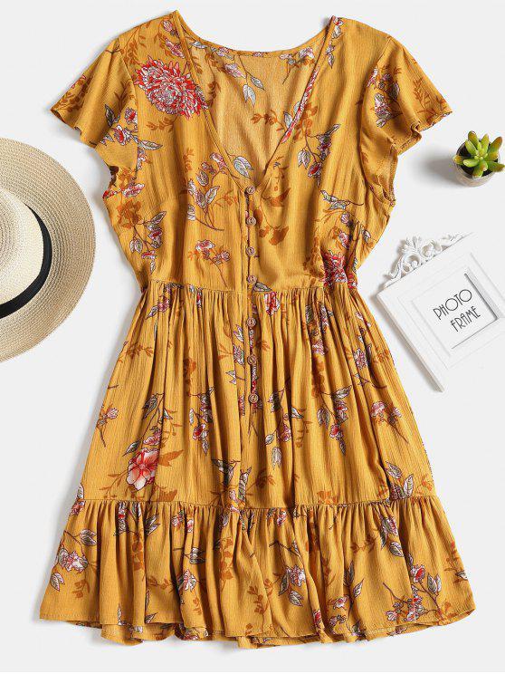 womens Button Up Ruffles A Line Dress - GOLDEN BROWN S
