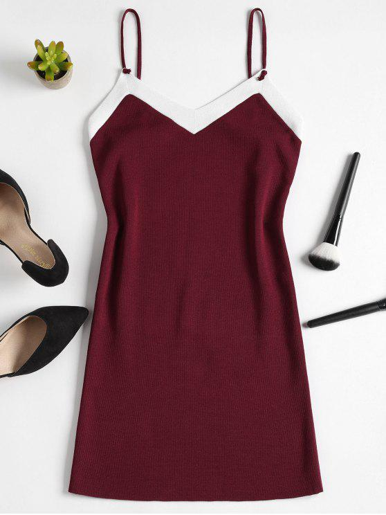 outfit Knitted Two Tone Mini Dress - RED WINE ONE SIZE