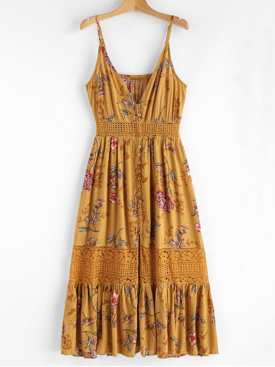 Vestido a media pierna con panel de encaje floral - Oro Anaranjado L