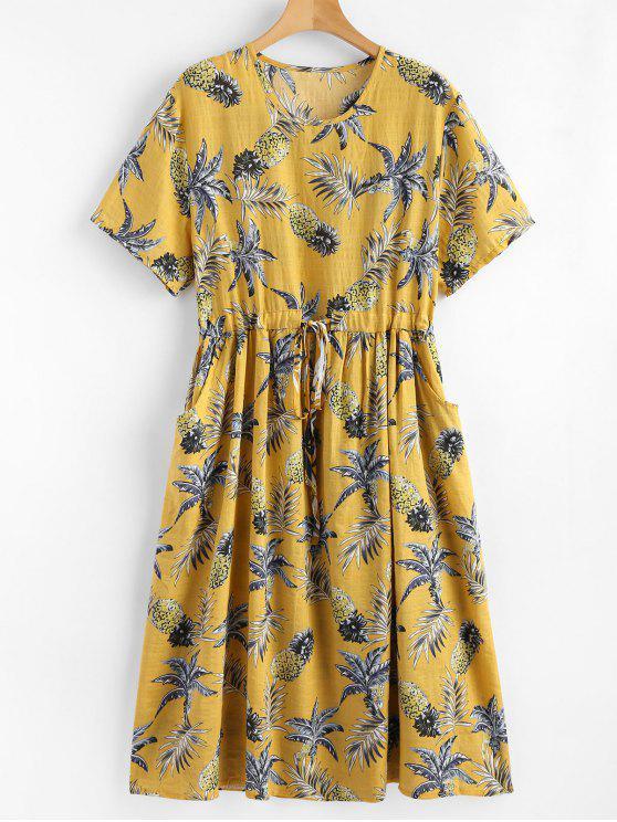 فستان مشد طباعة الأناناس - الحصاد الأصفر مقاس واحد