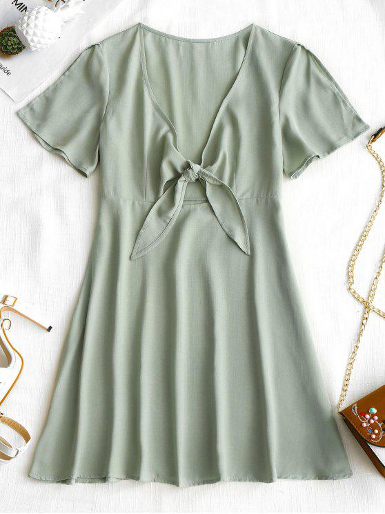 unique High Waisted Tied Front Dress - FROG GREEN S