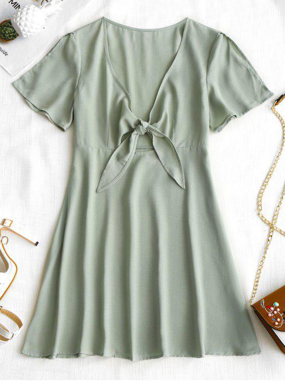 فستان ربطة المقدمة عالية الخصر - الضفدع الأخضر M