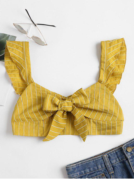 women Knotted Ruffle Strap Bralette Crop Top - HARVEST YELLOW L