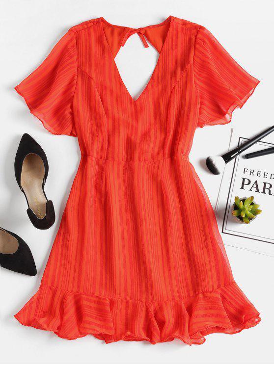 فستان مصغر مفتوحة الظهر كشكش - صدمة البرتقال L