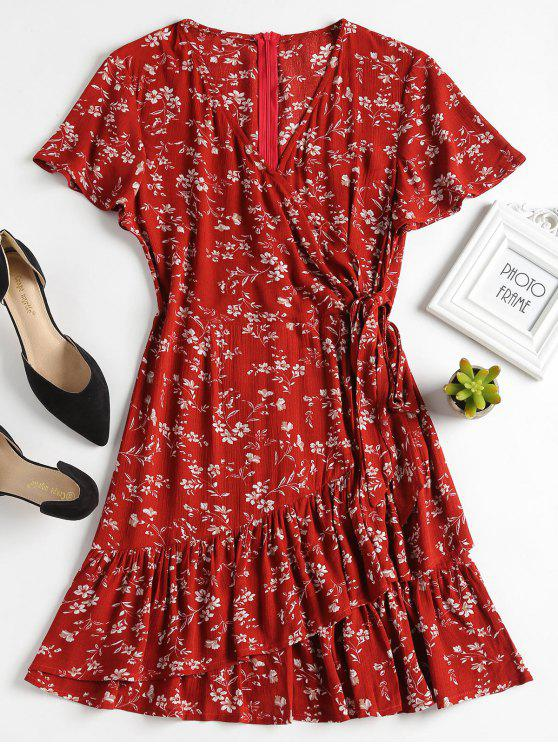 women Knotted Ruffles Floral A Line Dress - CHERRY RED L