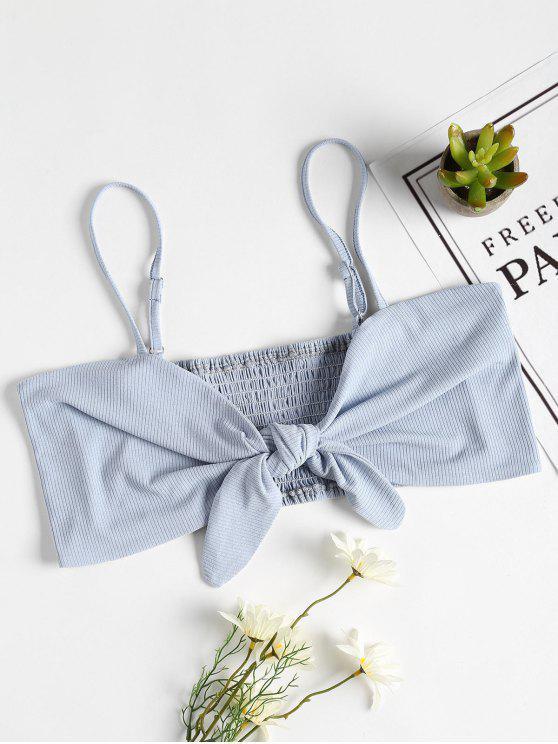 Smocked Tie camiseta sin mangas delantera - Azul Claro M