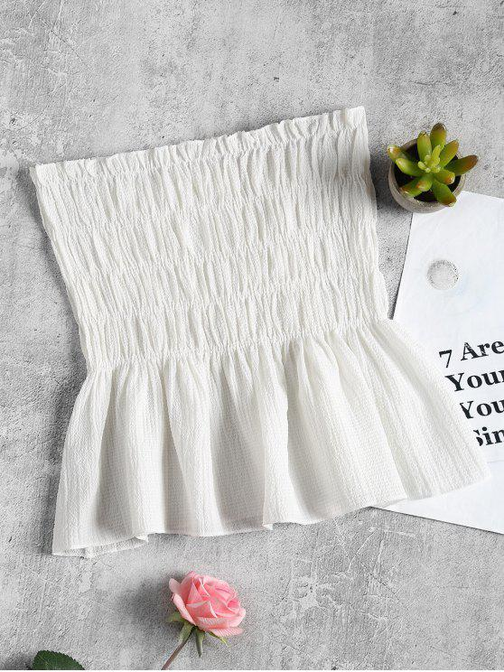 new Ruffles Smocked Tube Top - WHITE ONE SIZE