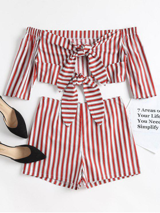 outfit Striped Off Shoulder Top and Shorts Set - RED WINE M