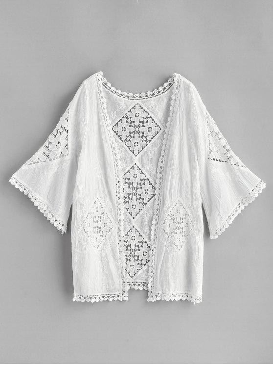 unique Crochet Panel Kimono - WHITE ONE SIZE