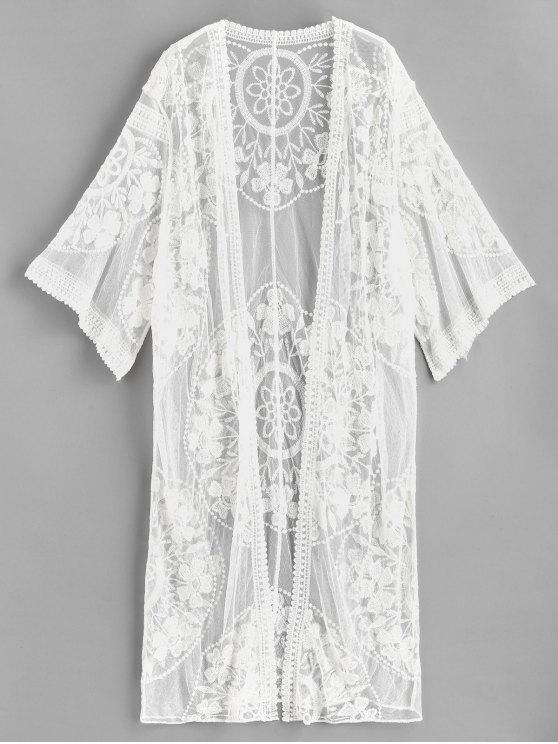 Kimono en Maille Brodée - Blanc Taille Unique