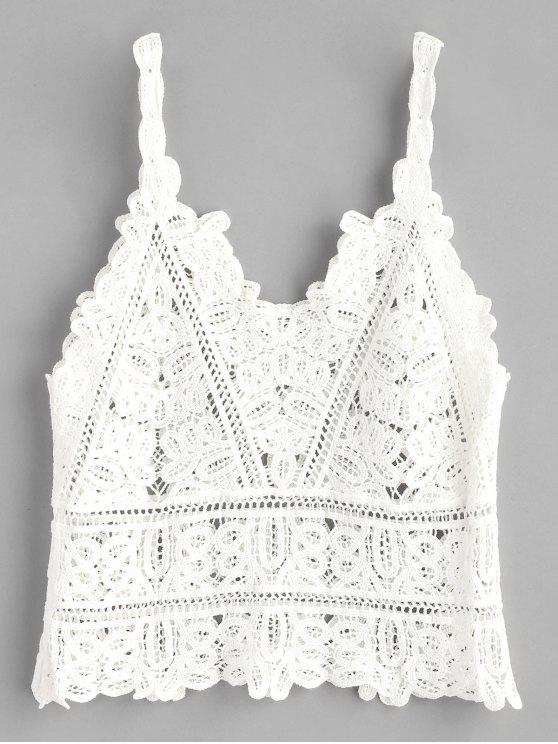 womens Crochet Tank Top - WHITE ONE SIZE