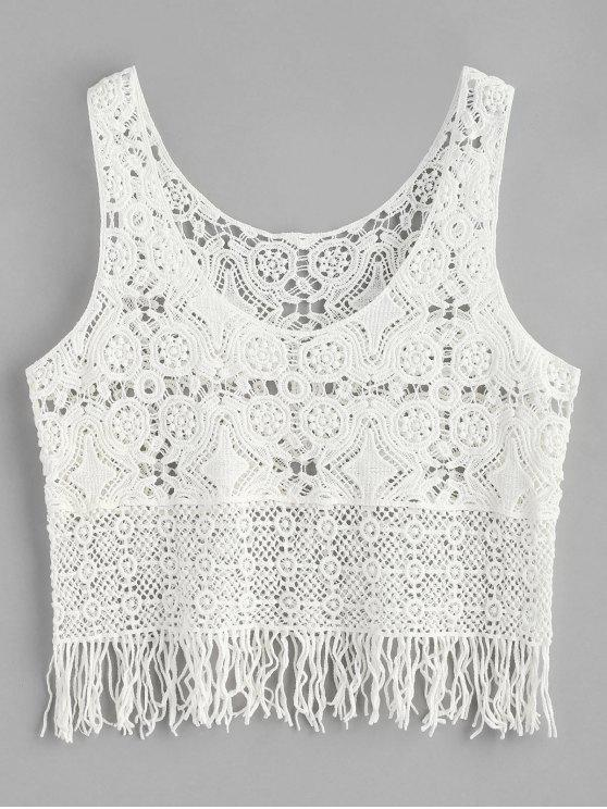 ladies Fringe Crochet Tank Top - WHITE ONE SIZE