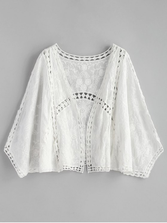 lady Hollow Out Embroidered Kimono - WHITE ONE SIZE