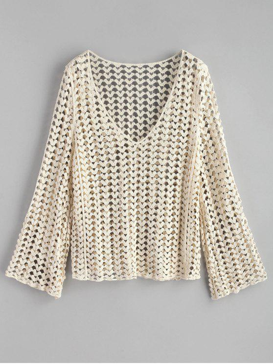 online V-neck Crochet Top - WARM WHITE ONE SIZE