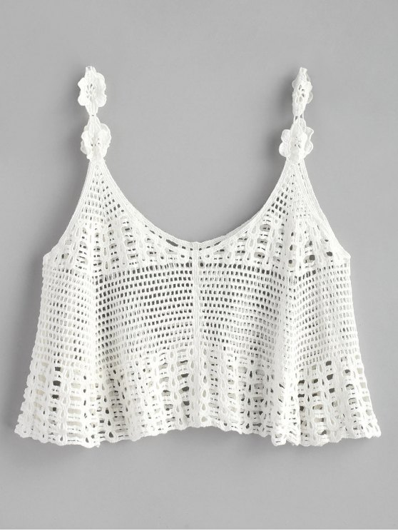 new Cropped Crochet Tank Top - WHITE ONE SIZE