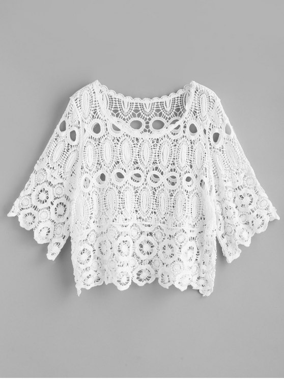 outfit Scalloped Trim Crochet Top - WHITE ONE SIZE