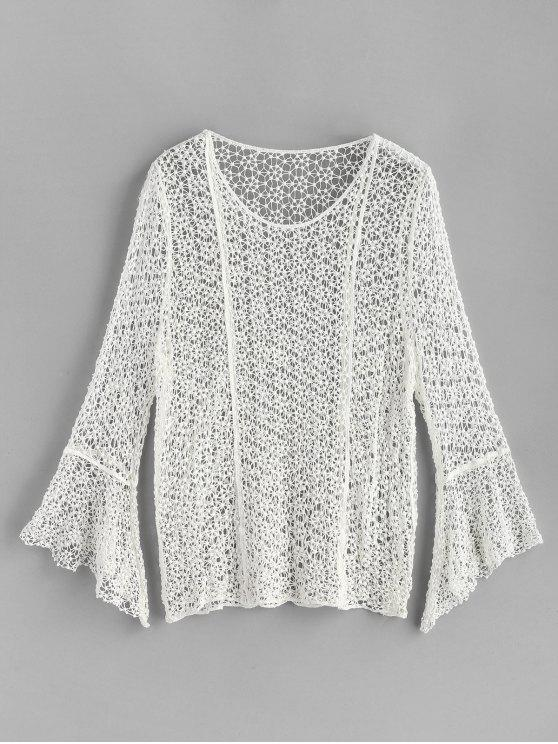 shops Flared Cuffs Crochet Top - WHITE ONE SIZE