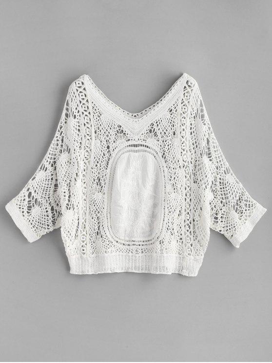 Batwing Crochet Top - Blanco Única Talla