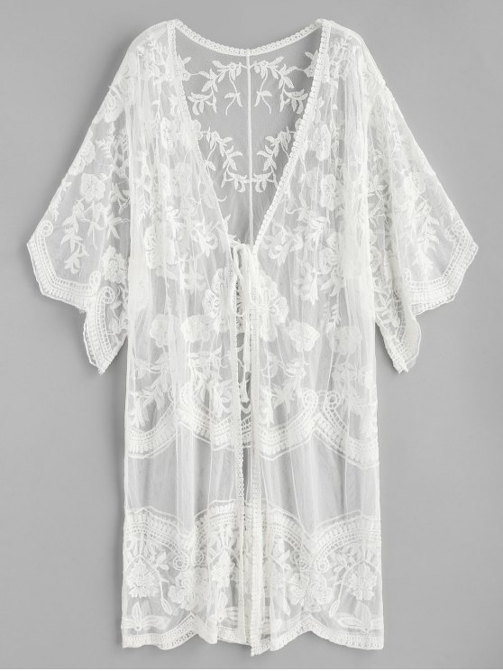 Ate Kimono Transparente Bordado Floral - Blanco Talla única