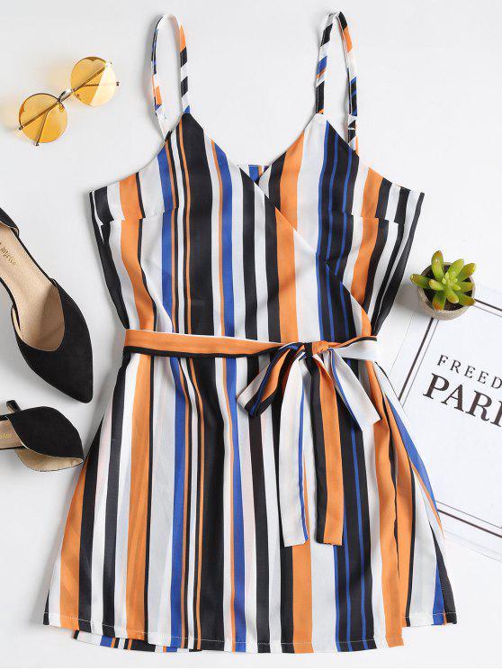 sale Stripes Wrap Mini Dress - MULTI S
