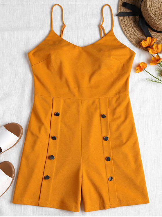 trendy Button Embellished Cami Romper - SCHOOL BUS YELLOW L