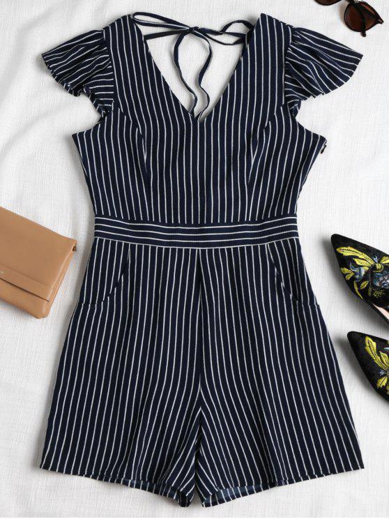fancy Striped Cap Sleeve Romper - MIDNIGHT BLUE S