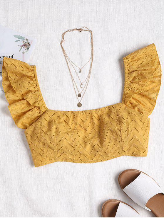 ladies Knotted Back Ruffles Blouse - MUSTARD L