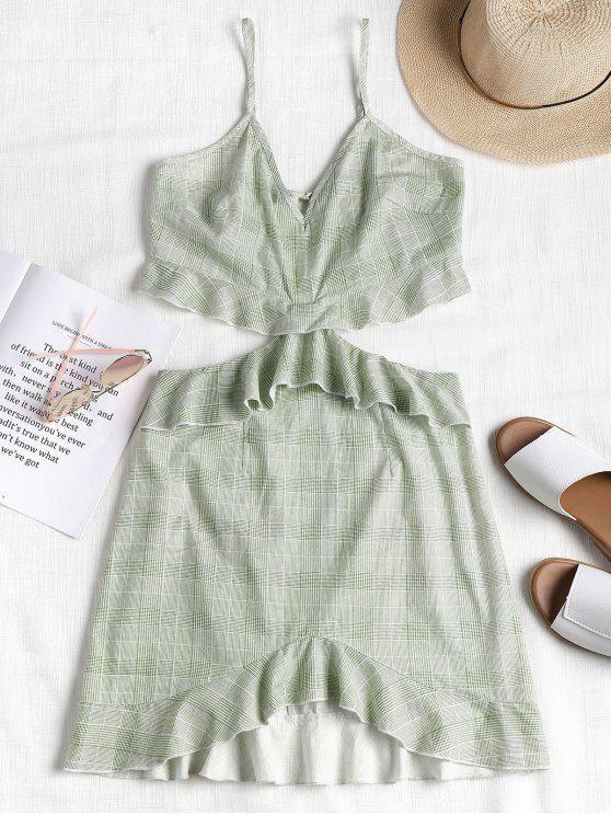 women Ruffles Plaid Cami Dress - LIGHT JADE L