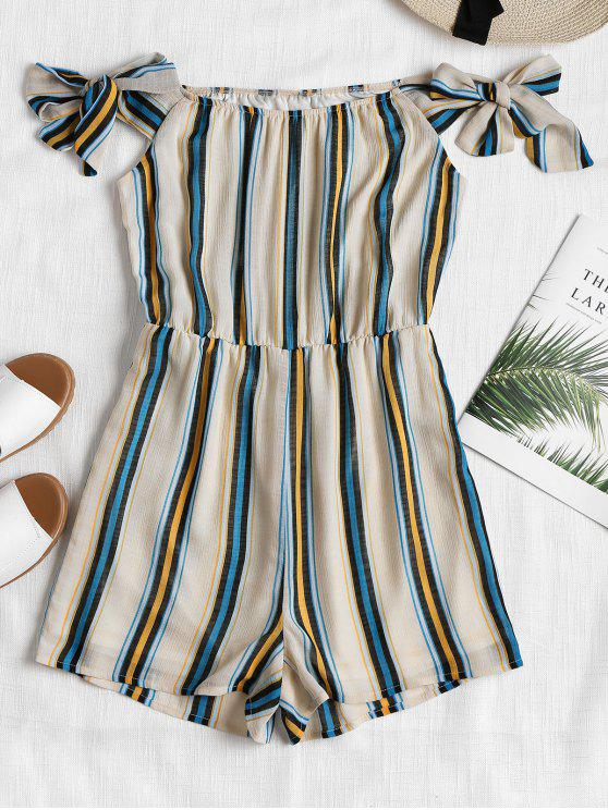 Striped Off The Shoulder Romper - Multicolor L