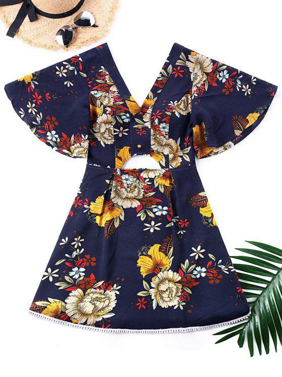 فستان كيمونو غارق الرقبة - مزيج ملون XL