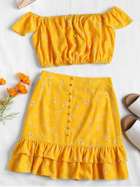 lady Floral Off Shoulder Two Piece Skirt Set - YELLOW M