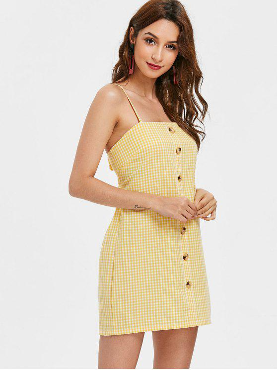 latest Knotted Button Up Cami Dress - YELLOW XL