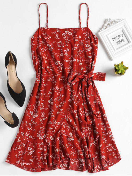 women Ruffles Overlap Mini Dress - GRAPEFRUIT M