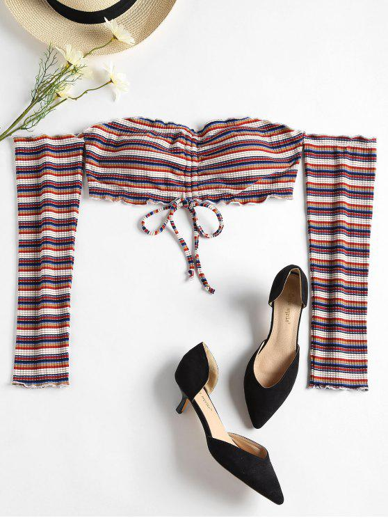 new Striped Cinched Off The Shoulder Crop Top - MULTI L