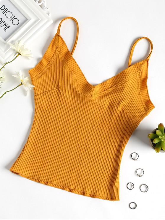 Camisola de alças com babados - Marrom Dourado M
