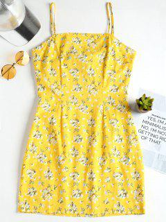Bow Tie Mini Floral Pinafore Dress With Darts - Corn Yellow L