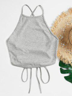 Strappy Lace Up Cami Crop Top - Nube Gris S