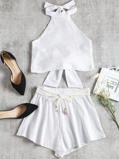 Halter Dos Nu Court Et Shorts Suit - Blanc M