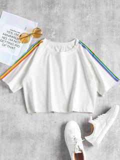 Camiseta Manga Raglán Con Parche A Rayas - Blanco S