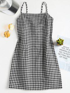Plaid Pattern Cami Dress - Black M