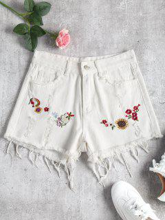 Floral Patched Denim Ripped Shorts - White M