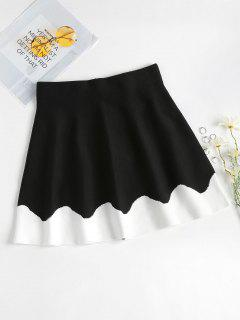Two Tone Knitted A Line Skirt - Black S