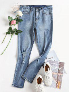 Bleach Wash Skinny Apenado Jeans - Denim Blue S