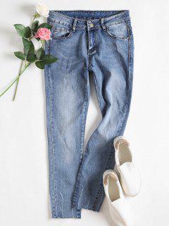 Frayed Ninth Distressed Jeans - Denim Blue S