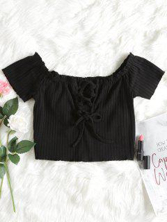 Ribbed Lace Up Off Shoulder Top - Black S