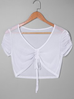 Front Ruched Sheer Crop Top - White M