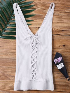 Lace-up V-neck Ribbed Tank Top - White