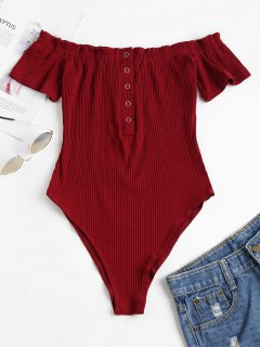 Knit Snap Button Off Shoulder Bodysuit - Red Wine S
