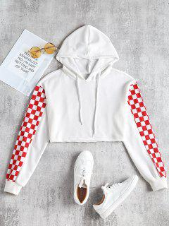 Square Cropped Contrast Hoodie - White M